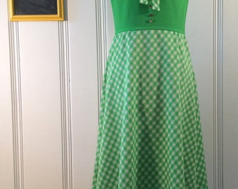 1970's Green Checkered Dress