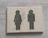 Restroom Sign-Wood Bathroom Sign-Bathroom People-Restroom Man and Woman-Rustic Bathroom Decor-Farmhouse Sign-Hand Painted-HAVENSPLACE
