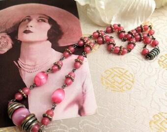 Vintage Pink Necklace - Vintage Art Deco Necklace - Vintage Necklace - Pink Glass Necklace - Art Deco Jewellery - Gift for Her - Moonglow