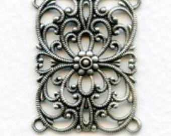 Bracelets Links Connectors, 4 Links, Oxidized Silver, 2 Pcs