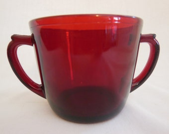 Anchor Hocking Ruby Red Open Sugar Dish offers considered