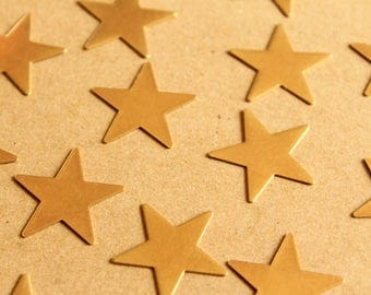 10 pc. Large Raw Brass Stars: 24.5mm by 24.5mm - made in USA | RB-1015