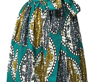 African Print Wrap Maxi Skirt with Sash Waistband. Inside Pockets. Lined. Womens Clothing. Handmade.