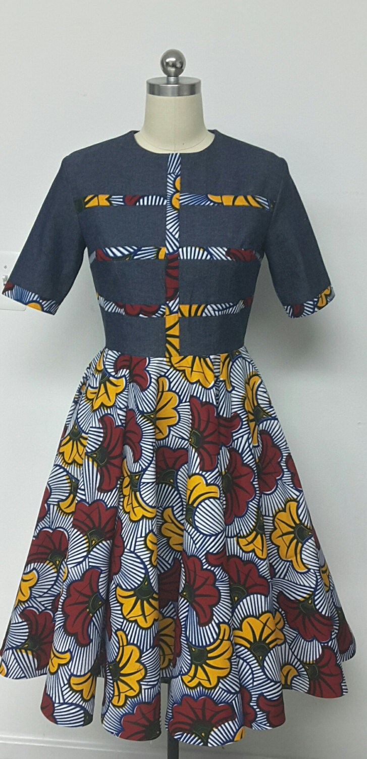 Denwax Collection African Print Denim Fit Amp Flare Midi Dress