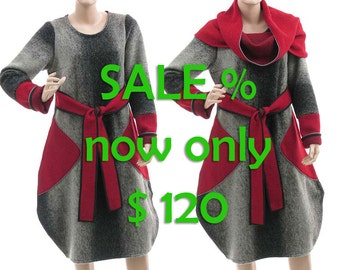 Wool dress grey red + separate turtleneck, boiled wool tulip dress small to medium size S-M US size 8-10, discount 95 USD - was 215 now 120