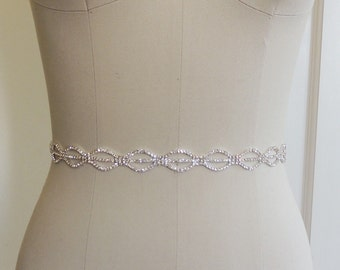 Thin Bridal Gown Sash, Wedding Dress Belt Sash, Thin Rhinestone Crystal Sash, Bridesmaids, Crystal Rhinestone Belt