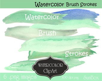 Watercolor Brush Stroke Pastel Green, Mint Green, Blue Clipart,  Digital Images 6 .png files