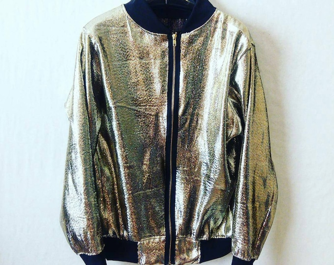 Bomber Jacket Metallic Gold Lame Supreme Dope Justin Bieber kid Cudi Lightweight