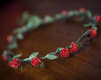 Boho Style RED ROSE Flower Crown ... Festivals, Summer Parties, Weddings, Bridesmaids