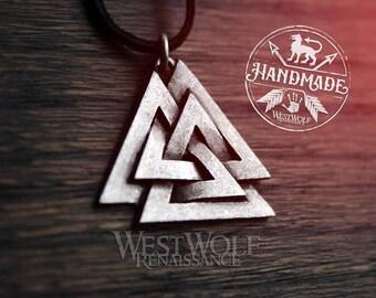 Viking Valknut Symbol Pendant -- Norse/Odin/Valhalla/Silver/Jewelry/Nordic/Skyrim