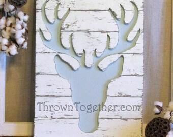 """Woodland Deer Wall Hanging, 15"""" x 21"""" Wood Deer Sign, Woodland Nursery Wall Decor"""