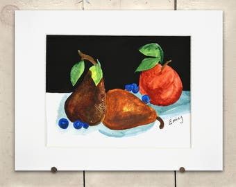 """Still life with Fruit Original Art 14x11"""" Matted One of a Kind 100% of the profits go directly to artists with disabilities Item 60 Mike H."""