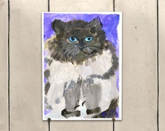 """Persian Cat Original Art 9x11.5"""" One of a Kind 100% of the profits go directly to artists with disabilities Item 78 Rita"""
