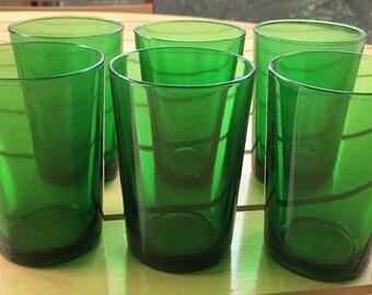 Six Green Glass Juice Glasses, Liqueur Glasses, Mid Century