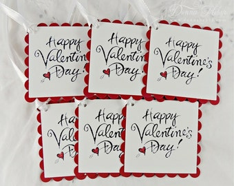Valentine's Day Gift Tags, Valentine Tags, Love Tags, Happy Valentine's Day Tags, Party Favor Tags - Set of 6