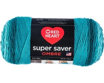 Red Heart Super Saver Ombre Yarn Deep Teal Color Gradient Yarn