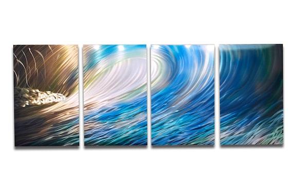 Metal Art Wall Art Decor Abstract Aluminum Contemporary Modern Sculpture Hanging Zen Textured Nature Water- Wave 1