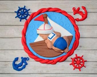 Sailor baby cake topper