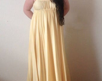1970s Handmade Yellow Pleated Sundress