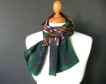 Designer silk scarf - Lanvin silk scarf - French silk scarf - vintage designer scarf - vintage Lanvin silk scarf - green and purple silk