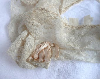 Antique cream lace - ribbon and lace - Edwardian lace sleeve - ecru lace with oyster pink ribbon - vintage lace trim