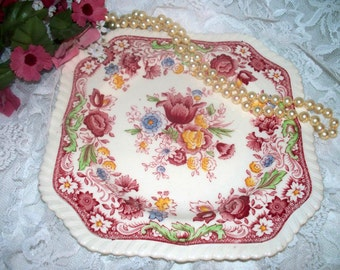 "Johnson Brothers - ""Winchester"" - Square Salad Plate - Red Multi-Color - Transferware - Hard to Find"