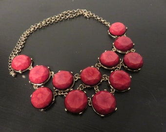 Vintage Red Bib necklace with gold metal