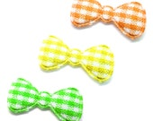 """100pcs x 7/8"""" Assorted Gingham Cotton Bow Padded/Appliques - (Yellow, Green, Orange)"""