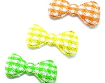 "100pcs x 7/8"" Assorted Gingham Cotton Bow Padded/Appliques - (Yellow, Green, Orange)"