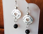 "Silver Disc Statement Earrings with Black Organic Bead Dangles, ""Love Life Live Life"" ""Follow Your Heart"" Jewelry, Eco-Friendly, Vegan"