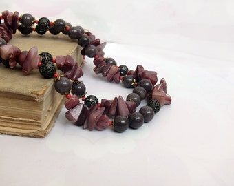 Agate Vintage Bead Necklace 31 Inches Long, Clasp, Cupper Beads, Vintage Jewelry, Smoky Tan Brown Gray natural semiprecious stone