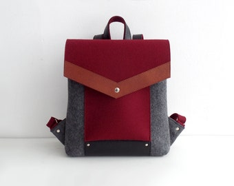 Gray Cherry Black Brown Felt Leather Backpack