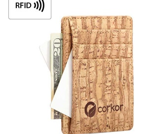 RFID Front Pocket Wallet for Men - Slim Wallet with Cards Slots and ID window - Eco Gifts - Slim Wallet - Thin Cork (CK122)