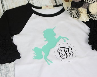 Unicorn Monogram Shirt - Unicorn Birthday Party Shirt - Unicorn Shirt - Unicorn Mane Shirt - Unicorn Icing Raglan