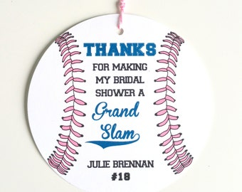 12 Baseball Baby Shower Favor Tags Baseball Theme Baby Shower Tag Softball Team Party Favor Personaize Favor Tag Baby Girl Shower Favour Tag