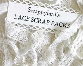 Vintage Lace Scrap Pack*White Lace Grab-Bag*Vintage Lace*Mixed Media Supplies*Fiber Art Supplies*Craft Supplies