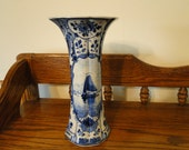 Antique Authentic Royal Delft Pottery Vase, Dated 1905, Tall Narrow Blue & White Seascape Vase, Holland Handpainted Sailboat Vase