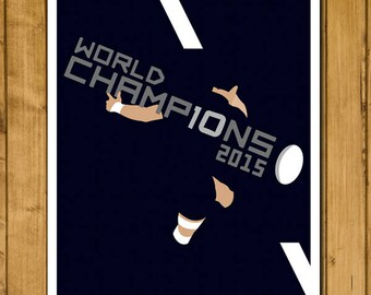 New Zealand Rugby - World Champions 2015 Poster - Dan Carter Drop Goal - All Blacks - Rugby Art Gift Print (Various Sizes)