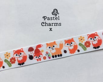 Cute fox ribbon x  2 yards 23mm wide x