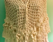 Bridal Shawl Off-White Crotcheted