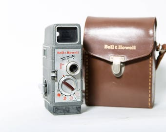 Bell & Howell Two Twenty 8mm Home Movie Camera 1950s Leather Case Super 8 Mid Century