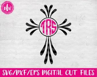 Monogram Cross, SVG, DXF, EPS, Cut File, Easter, Flourish, Vinyl, Vector, Monogram Frame, Silhouette, Cricut