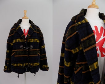 Vtg 1993 THE LIMITED Yellow and Blue Aztec Plaid Puffy Jacket Hoodie // MEDIUM