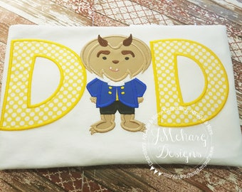 Beauty & The Beast Inspired Dad Custom embroidered Beast Inspired Birthday Family Shirt 1091