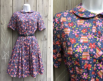 Vintage dress | 1960s Lady Bird Classics novelty print shirt dress with belt