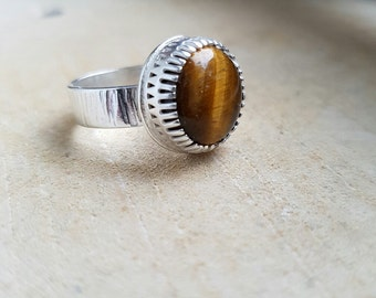 Sterling Silver Tigers Eye Ring Statement Ring Tigers Eye Gemstone Ring