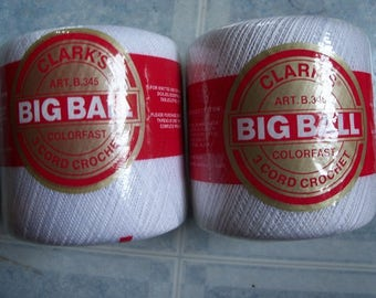 Clark's Big Ball Crochet Cotton Thread,2 Balls - FREE SHIPPING