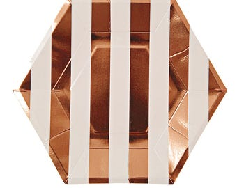 Rose Gold Large Stripe Plates - metallic copper paper plates birthday