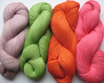 Linen Yarn Orange Pink Purple Salad Green 400 gr (14 oz ), Cobweb / 1 ply, each hank contains approximately 3000 yds