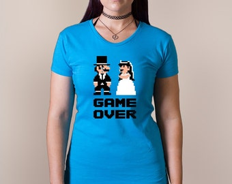 GAME OVER T-shirt wedding bachelorette party gamer bride Ladies Sizes